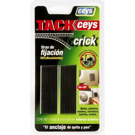 Cinta adhesiva fijacion tackceys crick negra