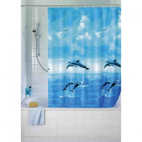 Cortina baño delfines 180 x 200 cm.