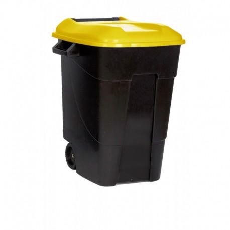 Contenedor plastico 100 ltr. tapa amarilla