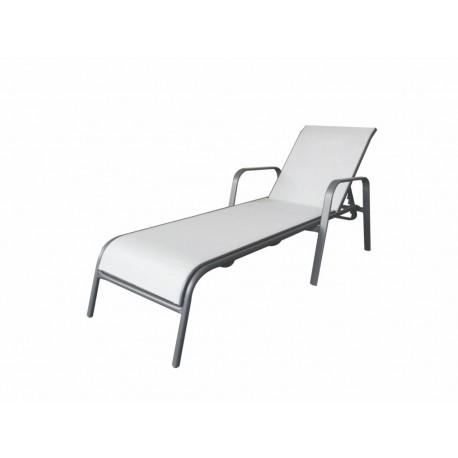 Tumbona jardín acero textileno gris 4 posiciones
